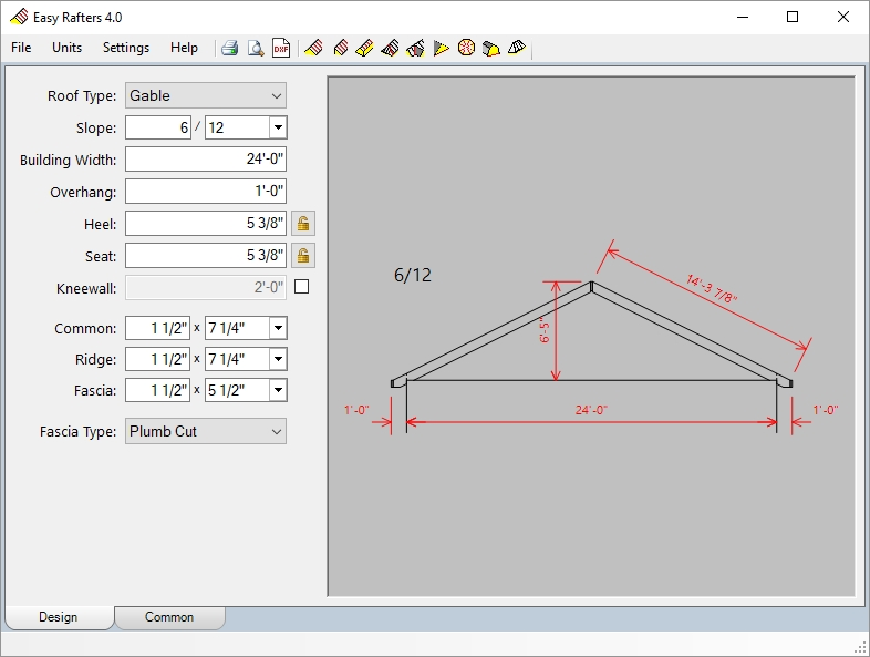 Roof rafter calculator for Roof drawing software